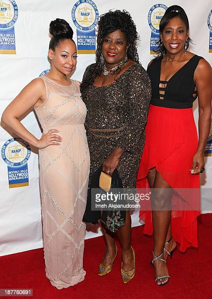 Actresses RavenSymone Loretta Devine and Dawnn Lewis attend the 23rd Annual NAACP Theatre Awards at Saban Theatre on November 11 2013 in Beverly...