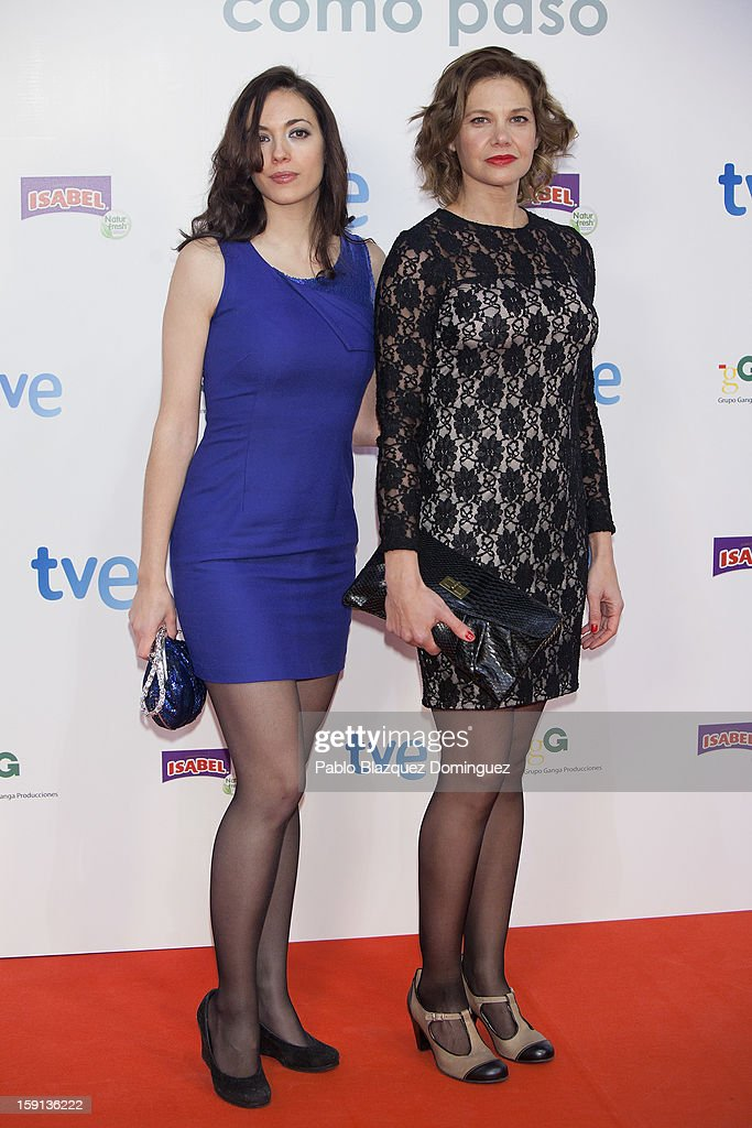 Actresses Rebeca Cobos and Lidia Oton attend 'Cuentame Como Paso' 14th Season presentation at Capitol Cinema on January 8, 2013 in Madrid, Spain.