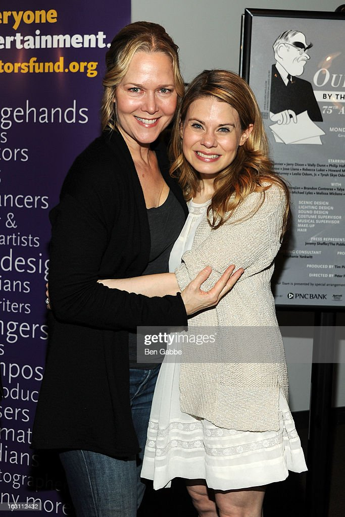 Actresses Rebecca Luker (L) and Celia Keenan-Bolger attend 'Our Town' Benefit Performance at the Gerald W. Lynch Theatre on March 4, 2013 in New York City.