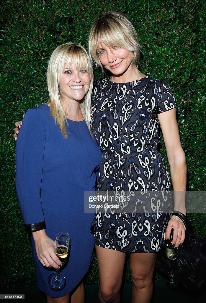 Actresses <a gi-track='captionPersonalityLinkClicked' href=/galleries/search?phrase=Reese+Witherspoon&family=editorial&specificpeople=201577 ng-click='$event.stopPropagation()'>Reese Witherspoon</a> and <a gi-track='captionPersonalityLinkClicked' href=/galleries/search?phrase=Cameron+Diaz&family=editorial&specificpeople=201892 ng-click='$event.stopPropagation()'>Cameron Diaz</a> attend the Opening of LA rag & bone Flagship store on October 26, 2012 in Los Angeles, California.