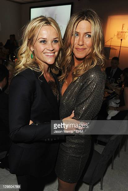 Actresses Reese Witherspoon and Jennifer Aniston attend ELLE's 18th Annual Women in Hollywood Tribute held at the Four Seasons Hotel on October 17...