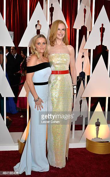Actresses Reese Witherspoon and Nicole Kidman attend the 87th Annual Academy Awards at Hollywood Highland Center on February 22 2015 in Hollywood...