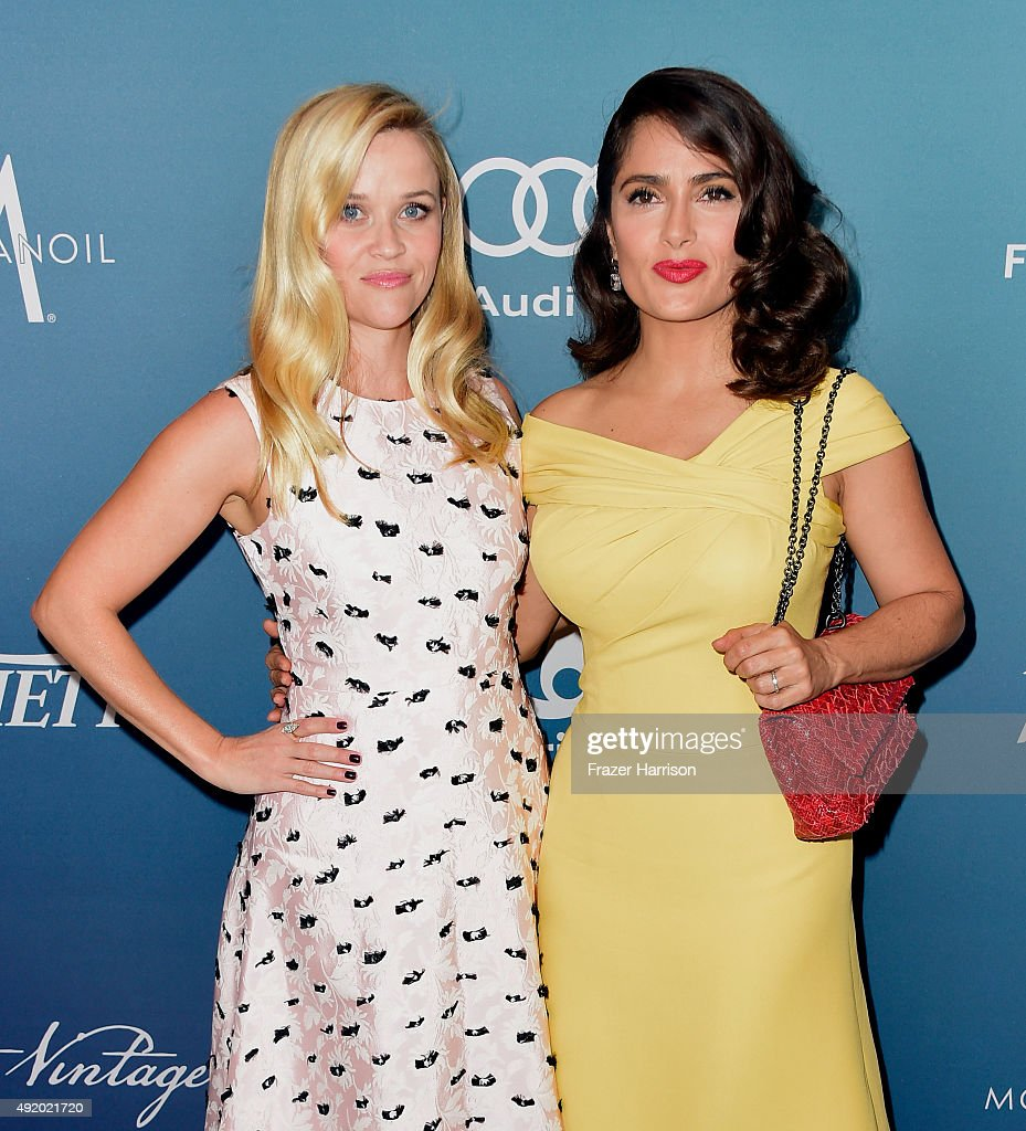 Actresses Reese Witherspoon (L) and Salma Hayek Pinault attend Variety's Power Of Women Luncheon at the Beverly Wilshire Four Seasons Hotel on October 9, 2015 in Beverly Hills, California.