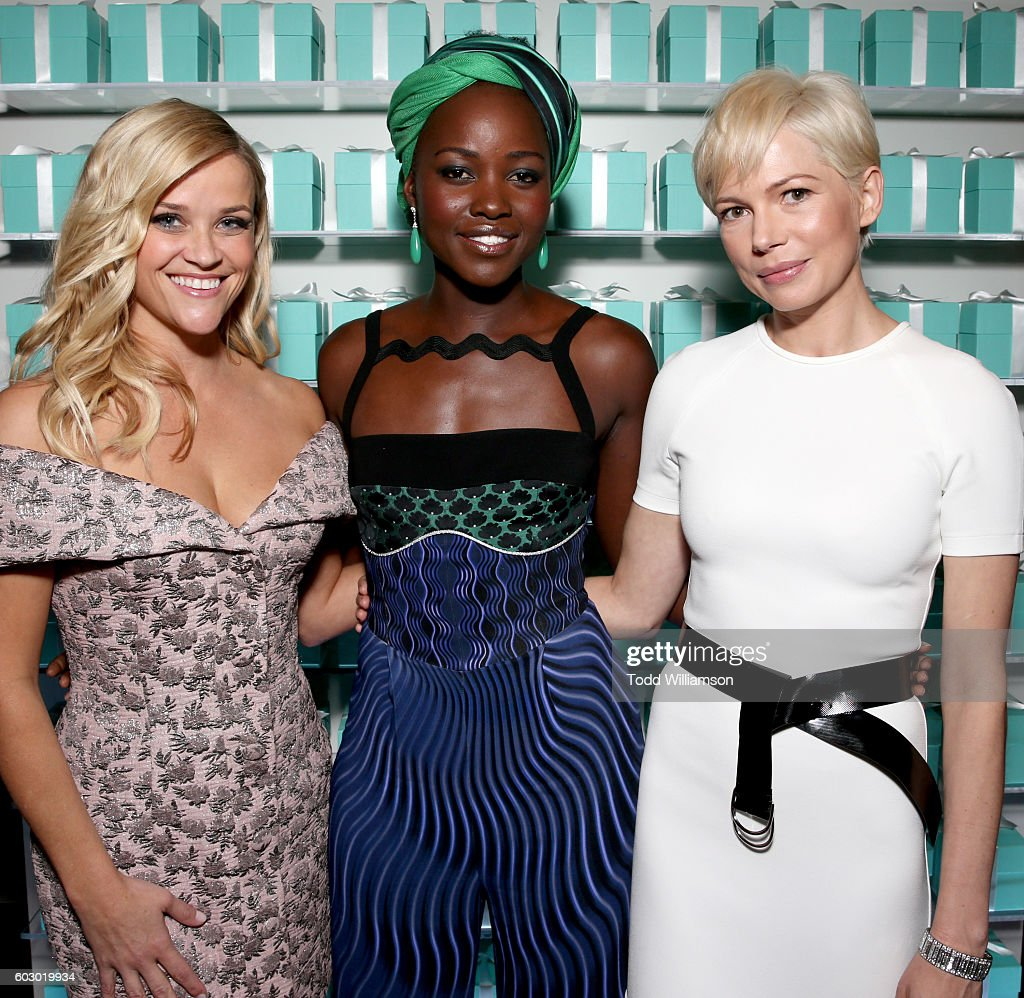 Actresses Reese Witherspoon, Lupita Nyong'o and Michelle Williams attend the Vanity Fair and Tiffany & Co. private dinner toasting Lupita Nyong'o and celebrating Legendary Style at Shangri-La Hotel on September 11, 2016 in Toronto, Canada.