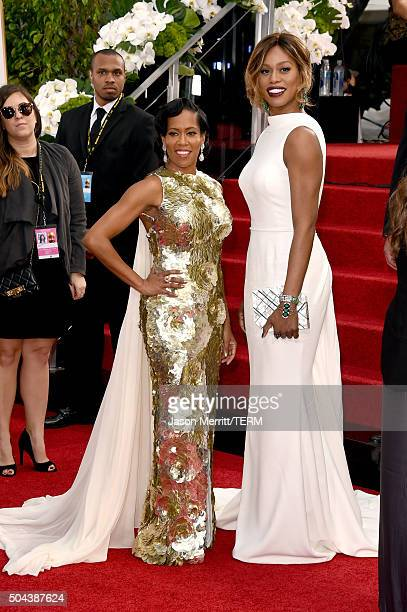 Actresses Regina King and Laverne Cox attend the 73rd Annual Golden Globe Awards held at the Beverly Hilton Hotel on January 10 2016 in Beverly Hills...