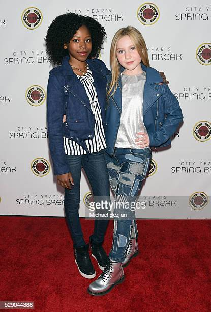 Actresses Riele Downs and Ella Anderson attend City Year Los Angeles Spring Break Event at Sony Studios on May 7 2016 in Los Angeles California
