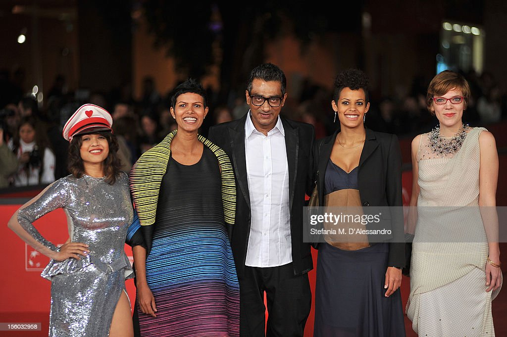Actresses Rii Sen,Tinu Verghis, Roxanne Hauzer and director Qaushiq Mukherjee and producer Celine Loop attend the ''Tasher Desh' Premiere during the 7th Rome Film Festival at the Auditorium Parco Della Musica on November 11, 2012 in Rome, Italy