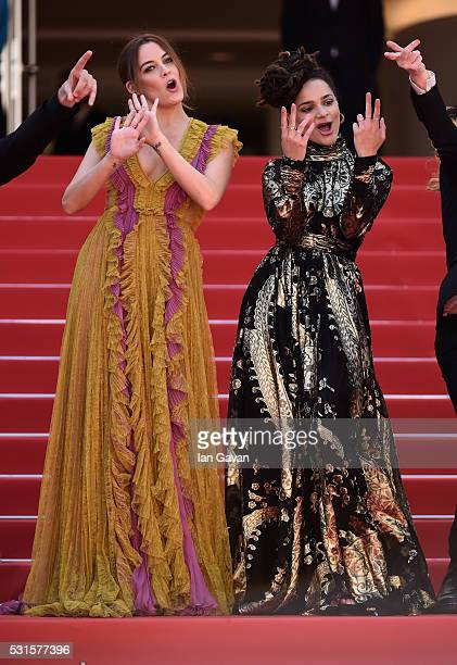 Actresses Riley Keough and Sasha Lane dance at the 'American Honey' premiere during the 69th annual Cannes Film Festival at the Palais des Festivals...