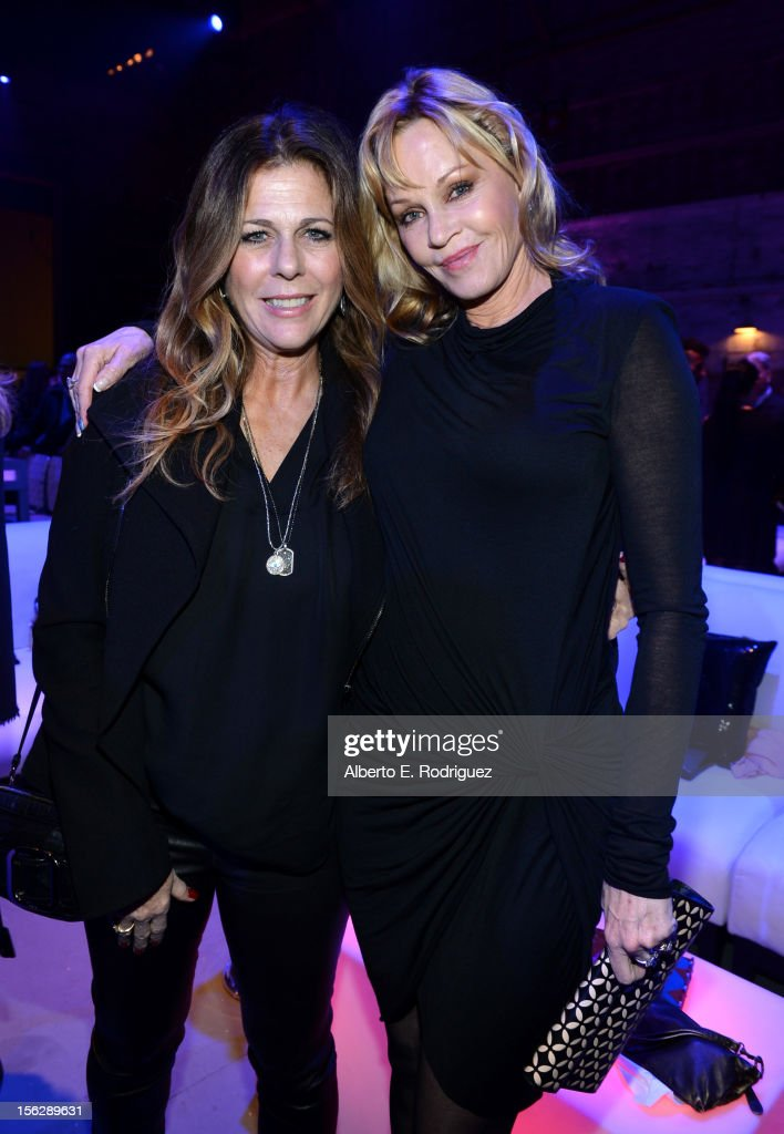 Actresses Rita Wilson (L) and Melanie Griffith attend the St. John's Health Center's Power Of Pink benefiting The Margie Petersen Breast Center at Sony Studios on November 12, 2012 in Los Angeles, California.
