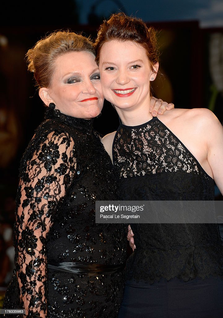 Actresses Robyn Davidson and <a gi-track='captionPersonalityLinkClicked' href=/galleries/search?phrase=Mia+Wasikowska&family=editorial&specificpeople=3965263 ng-click='$event.stopPropagation()'>Mia Wasikowska</a> attend the 'Tracks' premiere during the 70th Venice International Film Festival at the Palazzo del Cinema on August 29, 2013 in Venice, Italy.