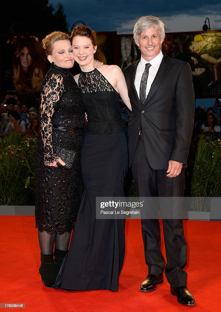 Actresses Robyn Davidson, <a gi-track='captionPersonalityLinkClicked' href=/galleries/search?phrase=Mia+Wasikowska&family=editorial&specificpeople=3965263 ng-click='$event.stopPropagation()'>Mia Wasikowska</a> and director John Curran attend the 'Tracks' premiere during the 70th Venice International Film Festival at the Palazzo del Cinema on August 29, 2013 in Venice, Italy.
