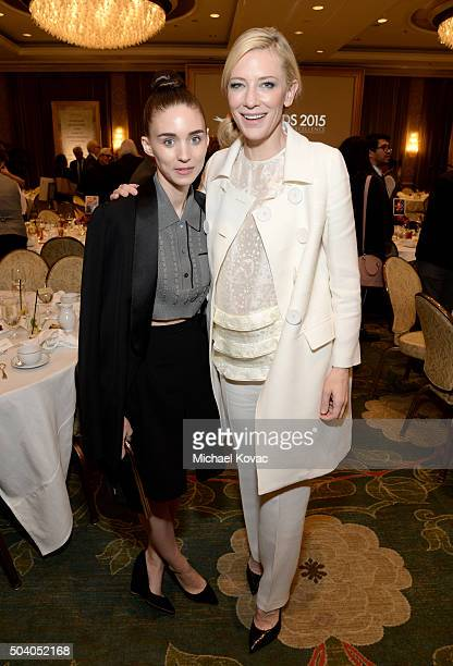 Actresses Rooney Mara and Cate Blanchett attend the 16th Annual AFI Awards at Four Seasons Hotel Los Angeles at Beverly Hills on January 8 2016 in...