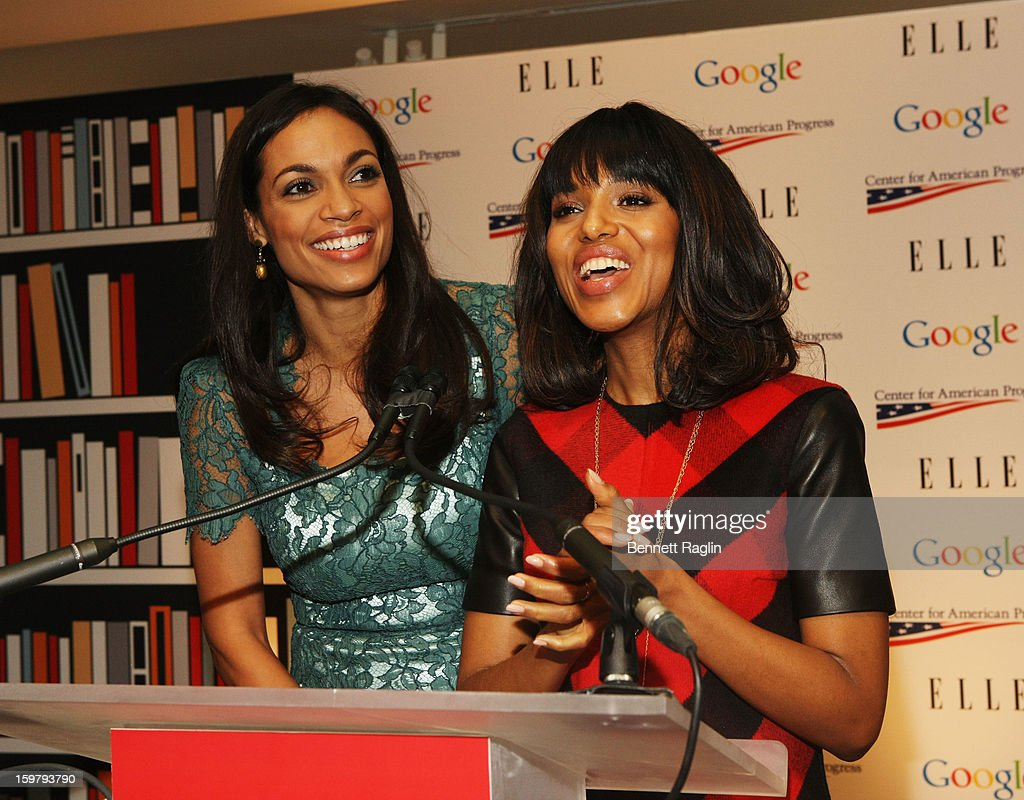 Actresses <a gi-track='captionPersonalityLinkClicked' href=/galleries/search?phrase=Rosario+Dawson&family=editorial&specificpeople=201472 ng-click='$event.stopPropagation()'>Rosario Dawson</a> and <a gi-track='captionPersonalityLinkClicked' href=/galleries/search?phrase=Kerry+Washington&family=editorial&specificpeople=201534 ng-click='$event.stopPropagation()'>Kerry Washington</a> attend a celebration of Leading Women in Washington hosted by GOOGLE, ELLE, and The Center For American Progress on January 20, 2013 in Washington, United States.