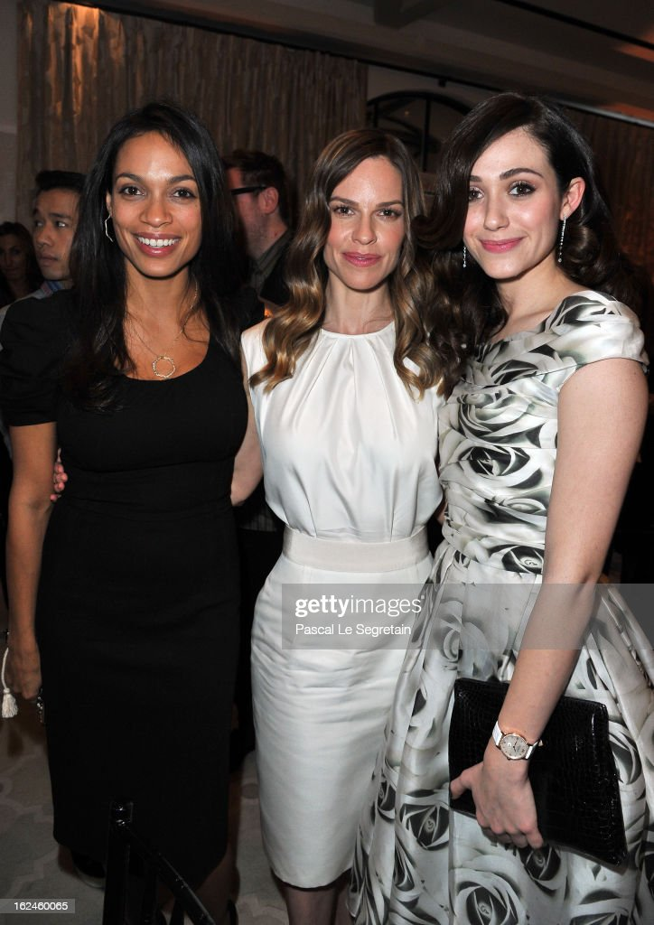Actresses Rosario Dawson wearing Montblanc Star 4810 in Yellow Gold, Hilary Swank wearing Montblanc Collection Princesse Grace de Monaco in Red Gold and diamonds and Emmy Rossum wearing Montblanc Star Classique Lady Automatic and Montblanc Collection Princesse Grace de Monaco attends a Pre-Oscar charity brunch hosted by Montblanc and UNICEF to celebrate the launch of their new 'Signature For Good 2013' Initiative with special guest Hilary Swank at Hotel Bel-Air on February 23, 2013 in Los Angeles, California.