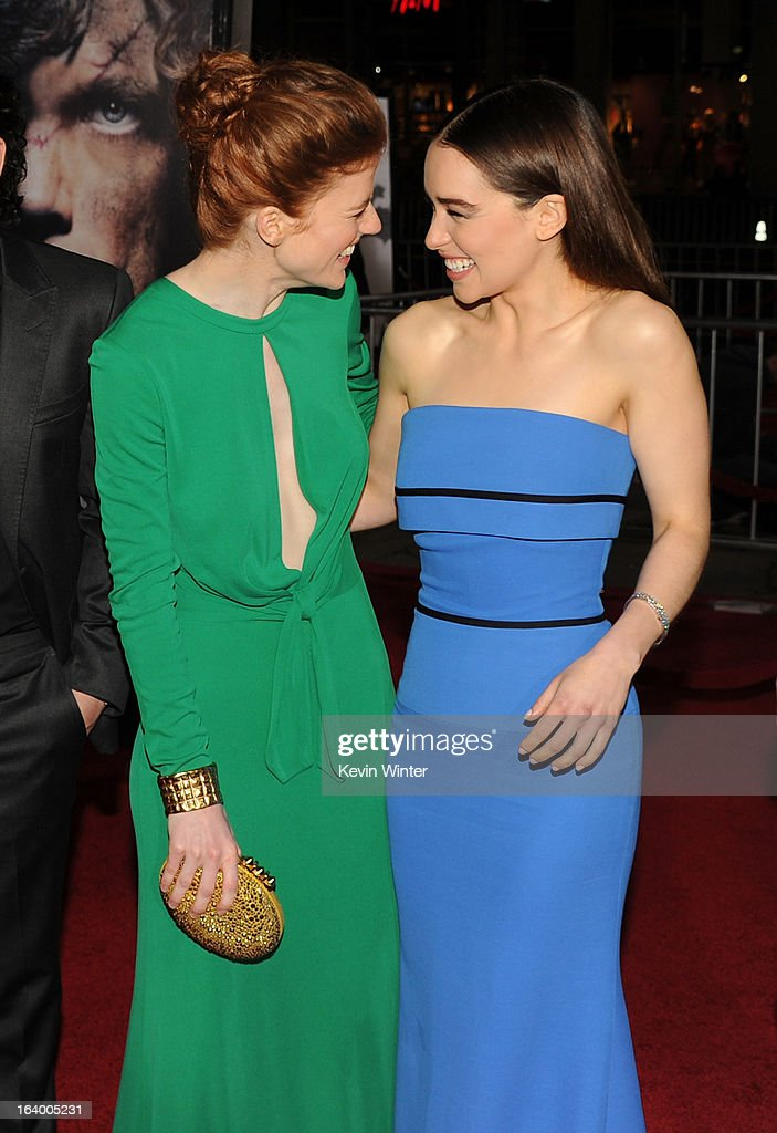 Actresses Rose Leslie (L) and Emilia Clarke arrive at the premiere of HBO's 'Game Of Thrones' Season 3 at TCL Chinese Theatre on March 18, 2013 in Hollywood, California.
