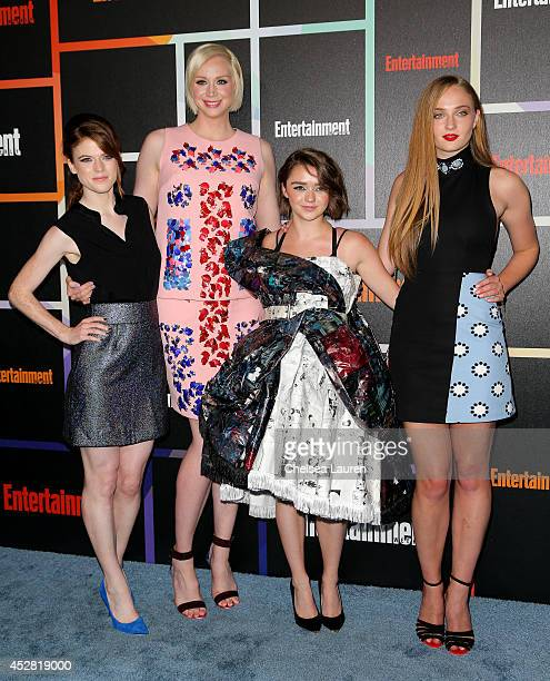 Actresses Rose Leslie Gwendoline Christie Maisie Williams and Sophie Turner arrive at Entertainment Weekly's Annual Comic Con Celebration at Float at...