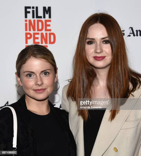 Actresses Rose McIver and Karen Gillan attend the 2017 Los Angeles Film Festival 'Sun Dogs' premiere at the ArcLight Santa Monica on June 18 2017 in...