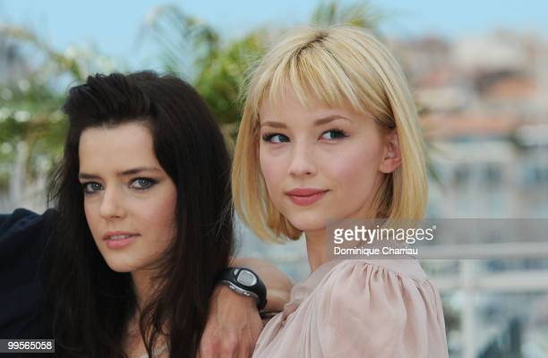Actresses Roxane Mesquida and Haley Bennett attend the 'Kaboom' Photo Call held at the Palais des Festivals during the 63rd Annual International...