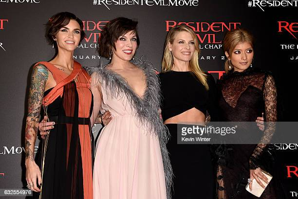 Actresses Ruby Rose Milla Jovovich Ali Larter and Rola arrive at the premiere of Sony Pictures Releasing's 'Resident Evil The Final Chapter' at the...