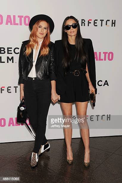 Actresses Rumer Willis and Demi Moore arrive at Tribeca Film's 'Palo Alto' Los Angeles Premiere at the Director's Guild of America on May 5 2014 in...