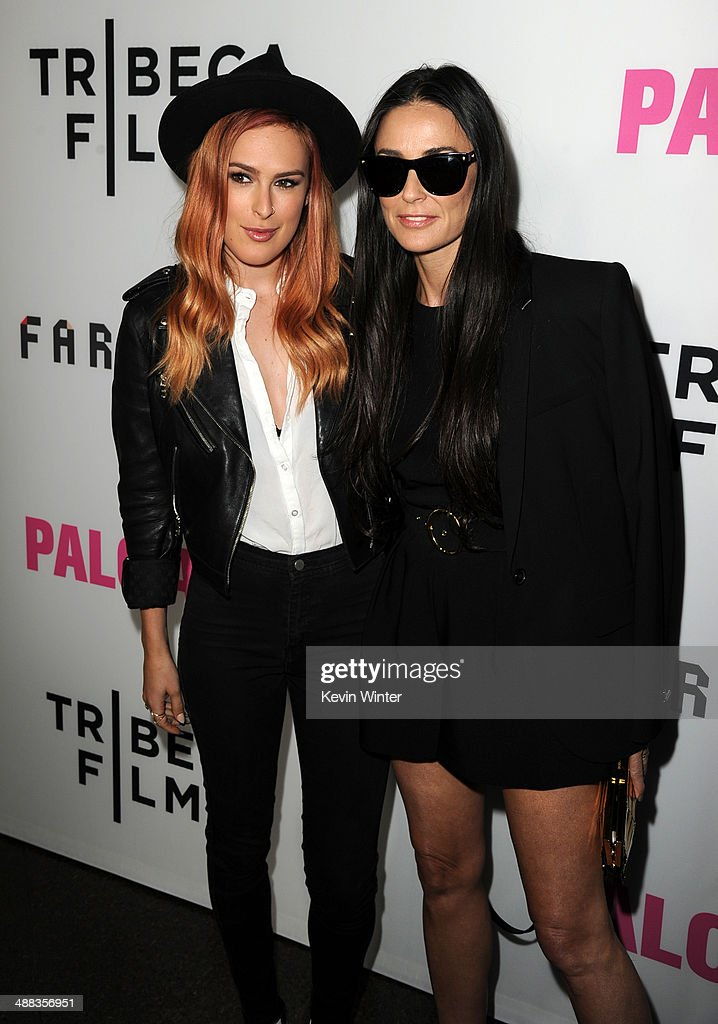 Actresses <a gi-track='captionPersonalityLinkClicked' href=/galleries/search?phrase=Rumer+Willis&family=editorial&specificpeople=617003 ng-click='$event.stopPropagation()'>Rumer Willis</a> (L) and <a gi-track='captionPersonalityLinkClicked' href=/galleries/search?phrase=Demi+Moore&family=editorial&specificpeople=202121 ng-click='$event.stopPropagation()'>Demi Moore</a> attend the premiere of Tribeca Film's 'Palo Alto' at the Directors Guild of America on May 5, 2014 in Los Angeles, California.