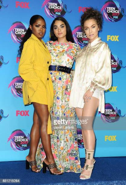 Actresses Ryan Destiny Brittany O'Grady and Jude Demorest pose in the press room at the 2017 Teen Choice Awards at Galen Center on August 13 2017 in...