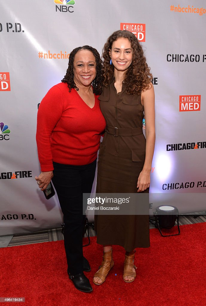 Actresses S Epatha Merkerson and Rachel DiPillo attend a press junket for NBC's 'Chicago Fire' 'Chicago PD' and 'Chicago Med' at Cinespace Chicago...