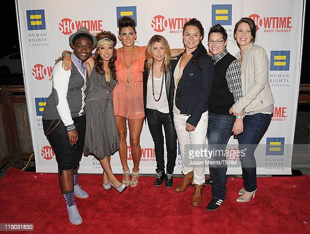 Actresses Sajdah Golde Francine Beppu Romi Klinger Claire Moseley Whitney Mixter Cori Boccumini and Kacy Boccumini arrive at the premiere party of...