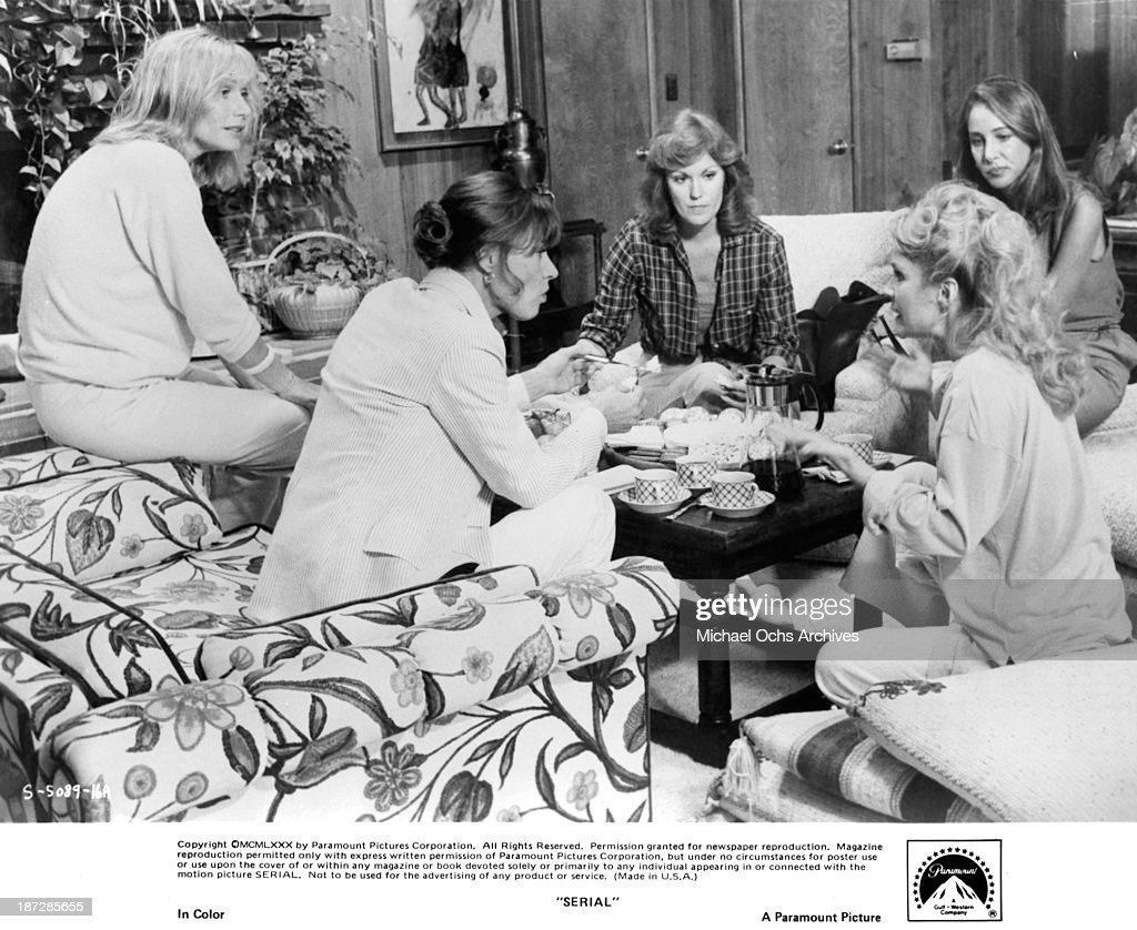 Actresses Sally Kellerman Nita Talbot Pamela Bellwood and Barbara Rhoades on set of the Paramount Pictures movie 'Serial' in 1980