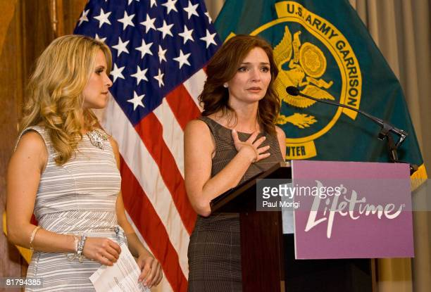 Actresses Sally Pressman and Brigid Brannagh talk to the soldiers at the Lifetime Television screening of 'Army Wives' at Walter Reed Army Medical...