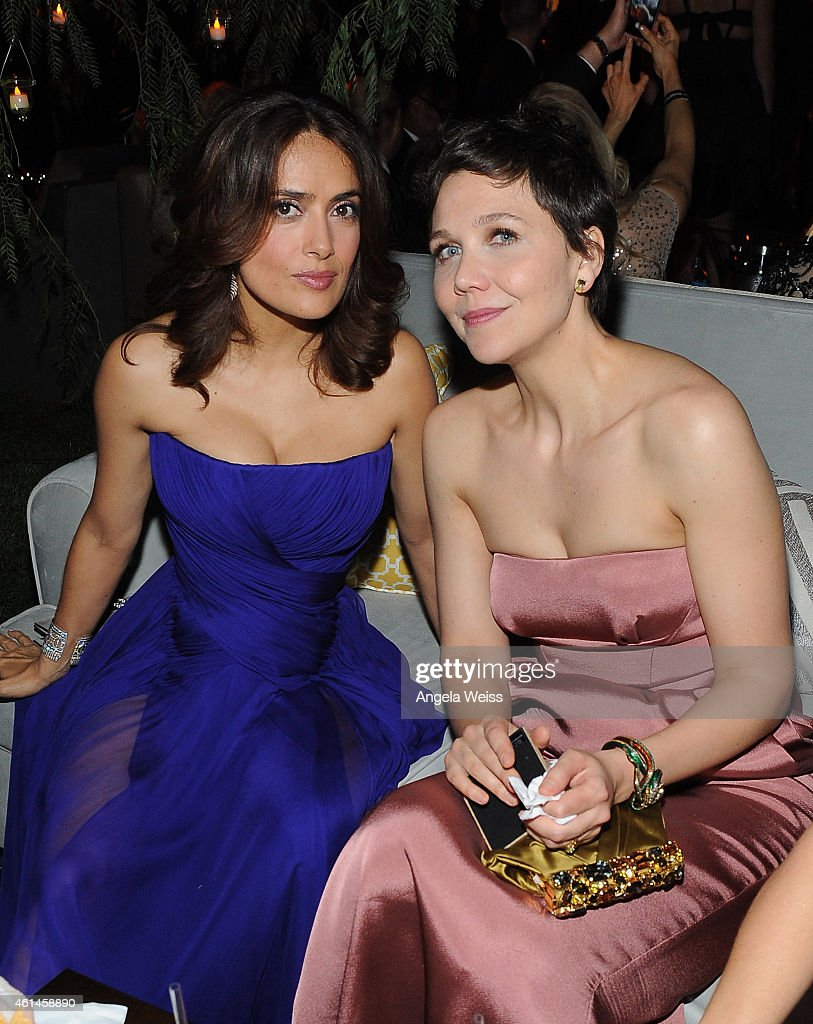 Actresses Salma Hayek and Maggie Gyllenhaal attend The Weinstein Company Netflix's 2015 Golden Globes After Party presented by FIJI Water Lexus Laura...