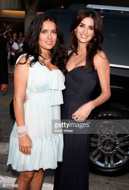 Actresses Salma Hayek and Penelope Cruz arrive on the red carpet at the Los Angeles Premiere of 'Vicky Cristina Barcelona' at the Mann Village...