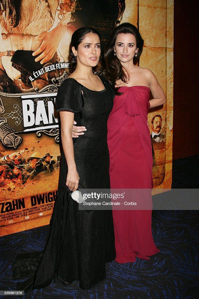 Actresses Salma Hayek and Penelope Cruz arriving at the premiere of 'Bandidas' in Paris.