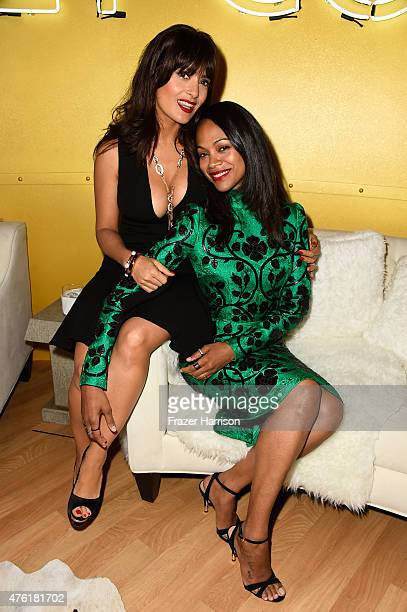 Actresses Salma Hayek and Zoe Saldana attend Spike TV's Guys Choice 2015 at Sony Pictures Studios on June 6 2015 in Culver City California