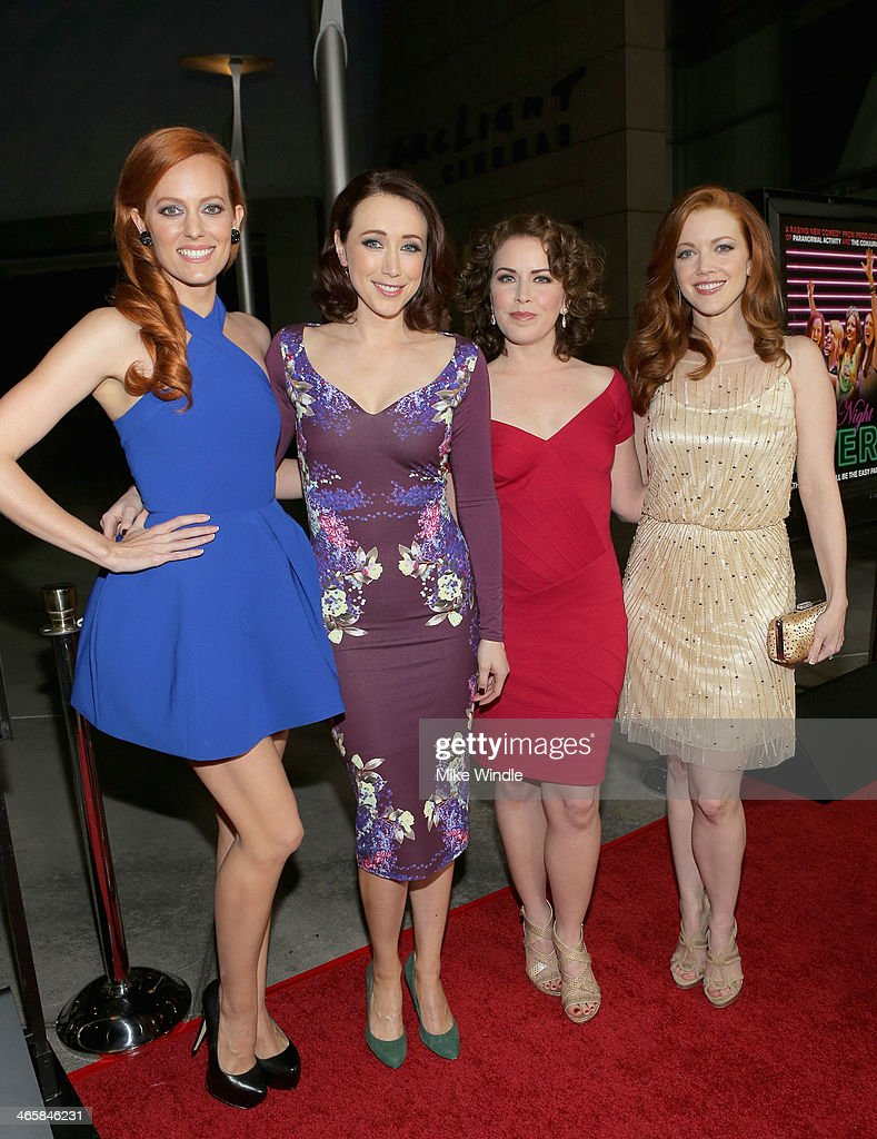 Actresses Samantha Colburn, Eddie Ritchard, <a gi-track='captionPersonalityLinkClicked' href=/galleries/search?phrase=Crista+Flanagan&family=editorial&specificpeople=737112 ng-click='$event.stopPropagation()'>Crista Flanagan</a> and Desiree Hall arrive at the premiere of Magnet's 'Best Night Ever' at ArcLight Cinemas on January 29, 2014 in Hollywood, California.