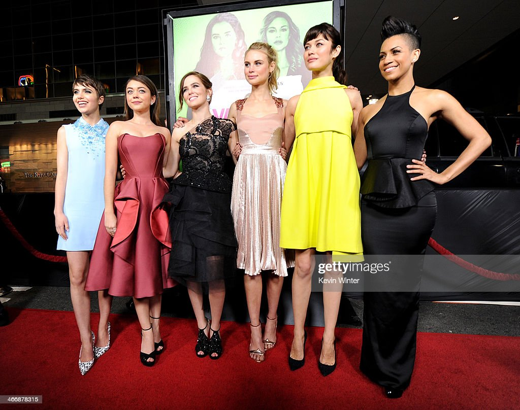 Actresses <a gi-track='captionPersonalityLinkClicked' href=/galleries/search?phrase=Sami+Gayle&family=editorial&specificpeople=5053940 ng-click='$event.stopPropagation()'>Sami Gayle</a>, <a gi-track='captionPersonalityLinkClicked' href=/galleries/search?phrase=Sarah+Hyland&family=editorial&specificpeople=3989646 ng-click='$event.stopPropagation()'>Sarah Hyland</a>, <a gi-track='captionPersonalityLinkClicked' href=/galleries/search?phrase=Zoey+Deutch&family=editorial&specificpeople=4951672 ng-click='$event.stopPropagation()'>Zoey Deutch</a>, Lucy Fry, <a gi-track='captionPersonalityLinkClicked' href=/galleries/search?phrase=Olga+Kurylenko&family=editorial&specificpeople=630281 ng-click='$event.stopPropagation()'>Olga Kurylenko</a> and Dominique Tipper attend the premiere of The Weinstein Company's 'Vampire Academy' at Regal Cinemas L.A. Live on February 4, 2014 in Los Angeles, California.