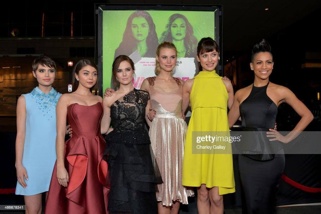 Actresses <a gi-track='captionPersonalityLinkClicked' href=/galleries/search?phrase=Sami+Gayle&family=editorial&specificpeople=5053940 ng-click='$event.stopPropagation()'>Sami Gayle</a>, <a gi-track='captionPersonalityLinkClicked' href=/galleries/search?phrase=Sarah+Hyland&family=editorial&specificpeople=3989646 ng-click='$event.stopPropagation()'>Sarah Hyland</a>, <a gi-track='captionPersonalityLinkClicked' href=/galleries/search?phrase=Zoey+Deutch&family=editorial&specificpeople=4951672 ng-click='$event.stopPropagation()'>Zoey Deutch</a>, Lucy Fry, <a gi-track='captionPersonalityLinkClicked' href=/galleries/search?phrase=Olga+Kurylenko&family=editorial&specificpeople=630281 ng-click='$event.stopPropagation()'>Olga Kurylenko</a> and Dominique Tipper arrive at The Weinstein Company's premiere of 'Vampire Academy' at Regal 14 at L.A. Live Downtown on February 4, 2014 in Los Angeles, California.