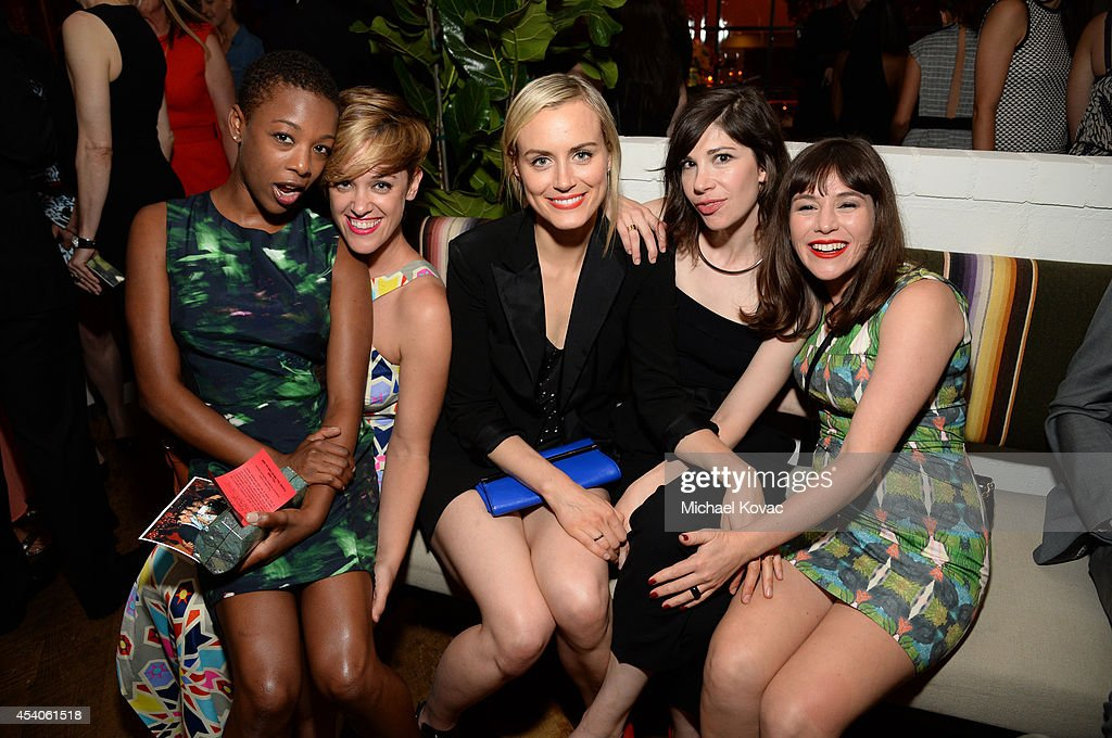 Actresses Samira Wiley guest Taylor Schilling Carrie Brownstein and Yael Stone attend Variety and Women in Film Emmy Nominee Celebration powered by...
