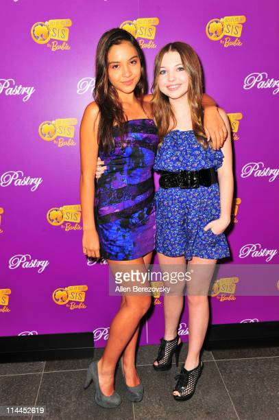 Actresses Sammi Hanratty and Stella Hudgens arrive at the Pastry Shoe's 'Barbie So In Style' Collection Launch Party at SLS Hotel on May 19 2011 in...
