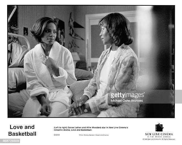 Actresses Sanaa Lathan and Alfre Woodard on set of the New Line Cinema movie ' Love Basketball ' circa 2000