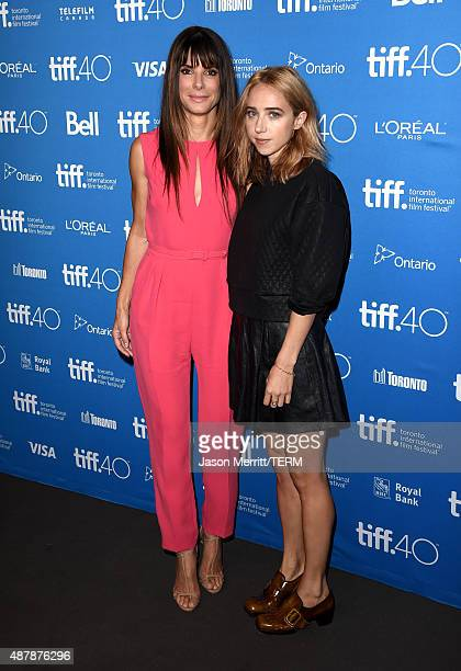 Actresses Sandra Bullock and Zoe Kazan attend the 'Our Brand Is Crisis' press conference at the 2015 Toronto International Film Festival at TIFF Bell...