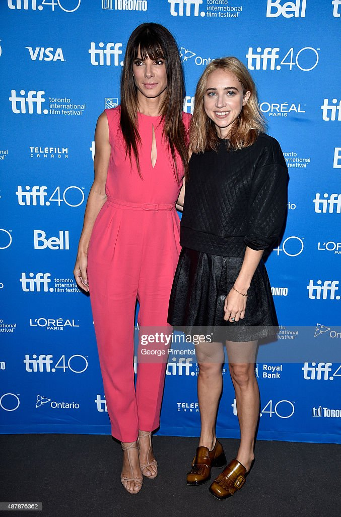 Actresses Sandra Bullock (L) and Zoe Kazan attend the 'Our Brand Is Crisis' press conference at the 2015 Toronto International Film Festival at TIFF Bell Lightbox on September 12, 2015 in Toronto, Canada.