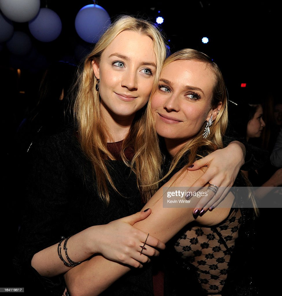 Actresses Saoirse Ronan (L) and Diane Kruger pose at the after party for the premiere of Open Road Films' 'The Host' at Lure on March 19, 2013 in Los Angeles, California.