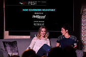 Actresses Saoirse Ronan and Sarah Silverman speak onstage at 'Indie Contenders Roundtable presented by The Hollywood Reporter' during AFI FEST 2015...