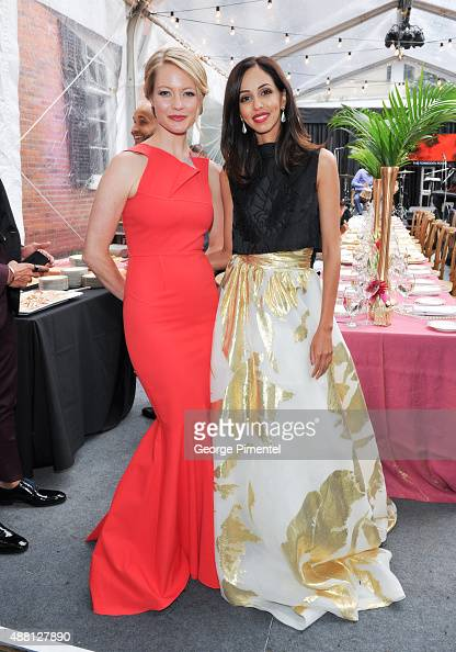 Actresses Sarah Allen and Gia Sandhu attend the Holt Renfrew cast dinner for 'Beeba Boys' during the 2015 Toronto International Film Festival at The...
