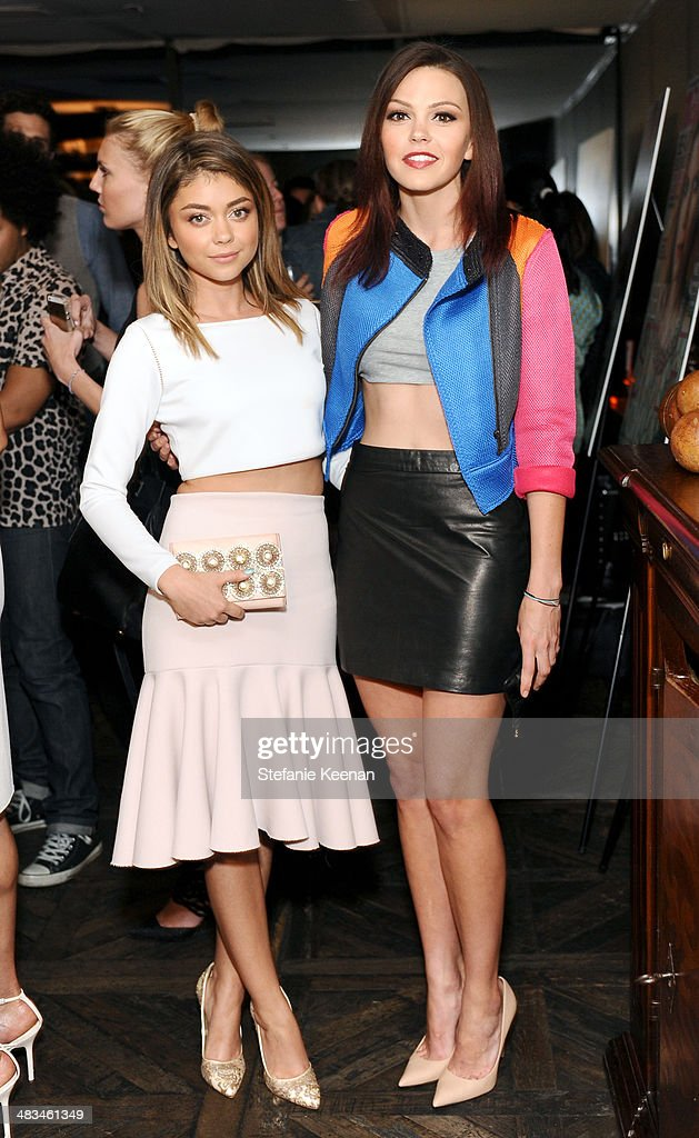 Actresses <a gi-track='captionPersonalityLinkClicked' href=/galleries/search?phrase=Sarah+Hyland&family=editorial&specificpeople=3989646 ng-click='$event.stopPropagation()'>Sarah Hyland</a> (L) and <a gi-track='captionPersonalityLinkClicked' href=/galleries/search?phrase=Aimee+Teegarden&family=editorial&specificpeople=741331 ng-click='$event.stopPropagation()'>Aimee Teegarden</a> attend Marie Claire Celebrates May Cover Stars on April 8, 2014 in West Hollywood, California.