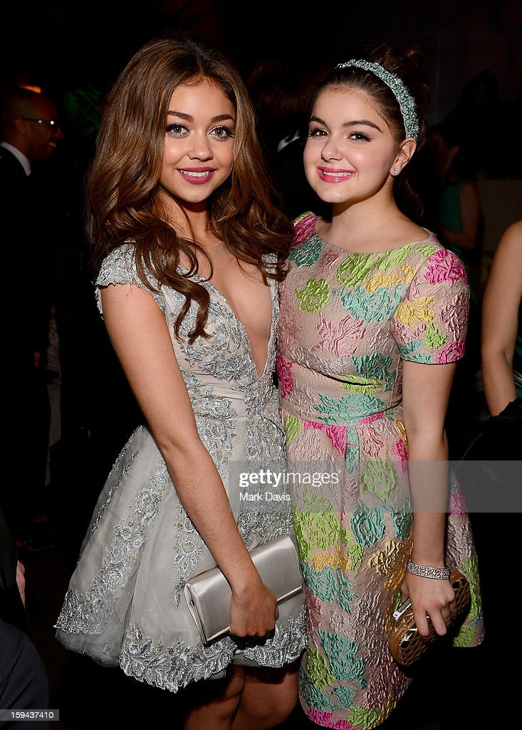 Actresses <a gi-track='captionPersonalityLinkClicked' href=/galleries/search?phrase=Sarah+Hyland&family=editorial&specificpeople=3989646 ng-click='$event.stopPropagation()'>Sarah Hyland</a> (L) and <a gi-track='captionPersonalityLinkClicked' href=/galleries/search?phrase=Ariel+Winter&family=editorial&specificpeople=715954 ng-click='$event.stopPropagation()'>Ariel Winter</a> attend the FOX After Party for the 70th Annual Golden Globe Awards held at The FOX Pavillion at The Beverly Hilton Hotel on January 13, 2013 in Beverly Hills, California.