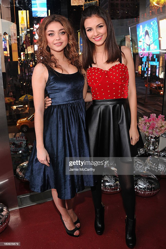 Actresses Sarah Hyland and Victoria Justice attend the 10th Anniversary of Teen Vogue and Aeropostale's Celebration of Chloe Grace Moretz's Sweet 16 at Aeropostale Times Square on February 7, 2013 in New York City.
