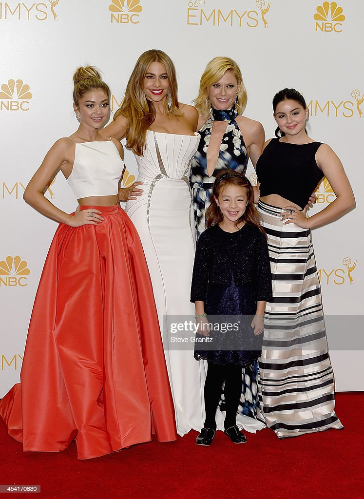 Actresses Sarah Hyland Sofia Vergara Julie Bowen Aubrey AndersonEmmons and Ariel Winter pose in the press room during the 66th Annual Primetime Emmy...