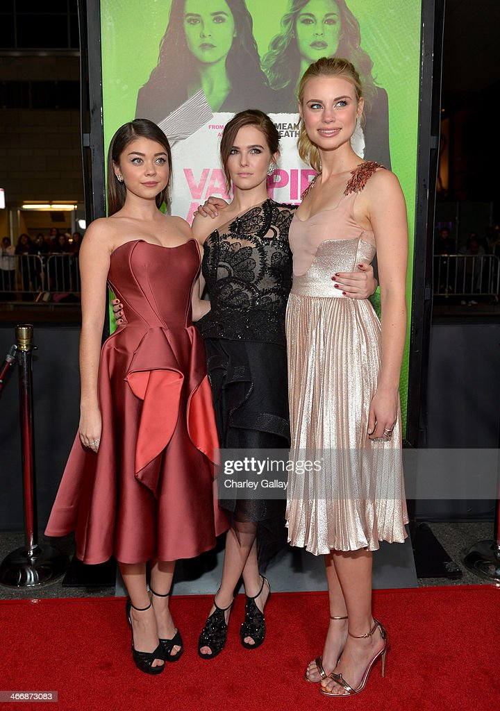 Actresses <a gi-track='captionPersonalityLinkClicked' href=/galleries/search?phrase=Sarah+Hyland&family=editorial&specificpeople=3989646 ng-click='$event.stopPropagation()'>Sarah Hyland</a>, <a gi-track='captionPersonalityLinkClicked' href=/galleries/search?phrase=Zoey+Deutch&family=editorial&specificpeople=4951672 ng-click='$event.stopPropagation()'>Zoey Deutch</a> and Lucy Fry arrive at The Weinstein Company's premiere of 'Vampire Academy' at Regal 14 at L.A. Live Downtown on February 4, 2014 in Los Angeles, California.